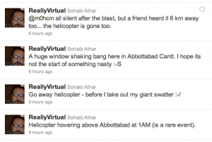 Sohaib Athar's Twitter feed of the attack on Bin Laden.  Taken from twitter.com/reallyvirtual