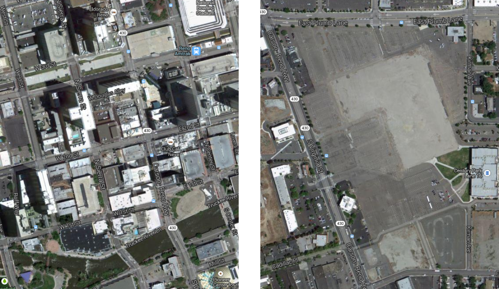 On the left, downtown Reno. On the right, the Park Lane site.